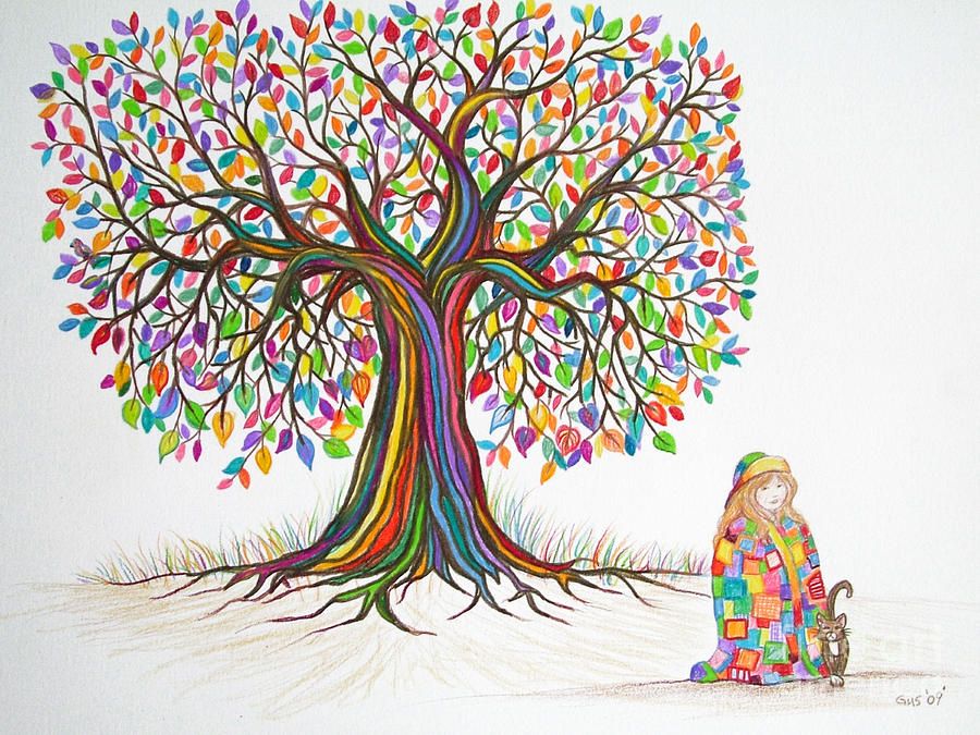 Rainbow Tree Dreams Drawing  - Rainbow Tree Dreams Fine Art Print