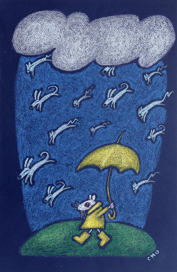 Raining Cats And Dogs Pastel  - Raining Cats And Dogs Fine Art Print