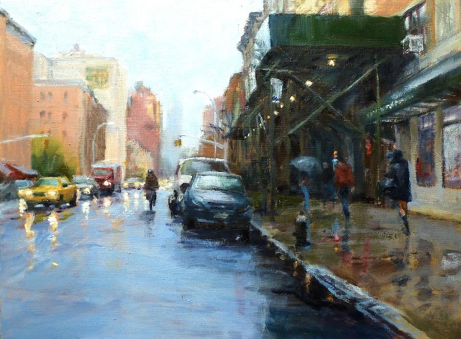 Rainy Afternoon On Amsterdam Avenue Painting  - Rainy Afternoon On Amsterdam Avenue Fine Art Print