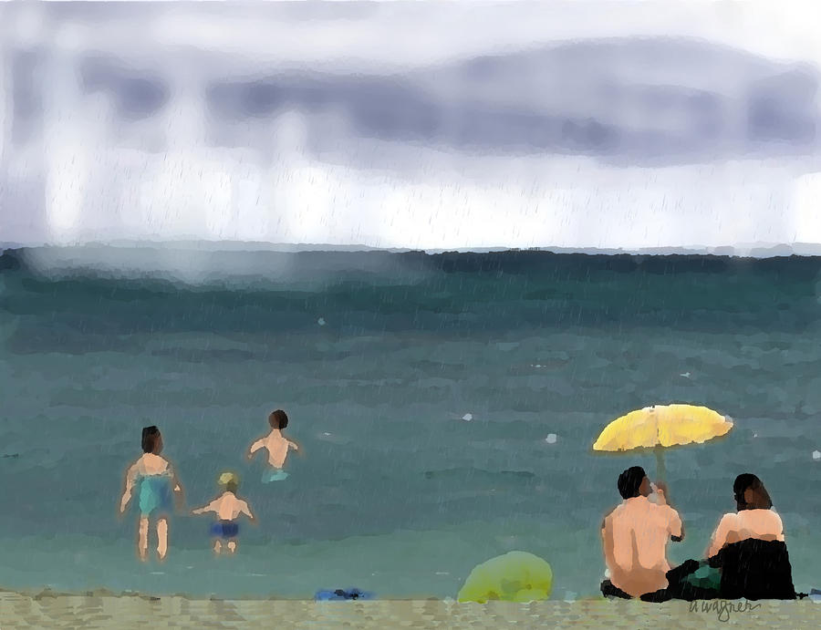 Rainy Beach Digital Art  - Rainy Beach Fine Art Print