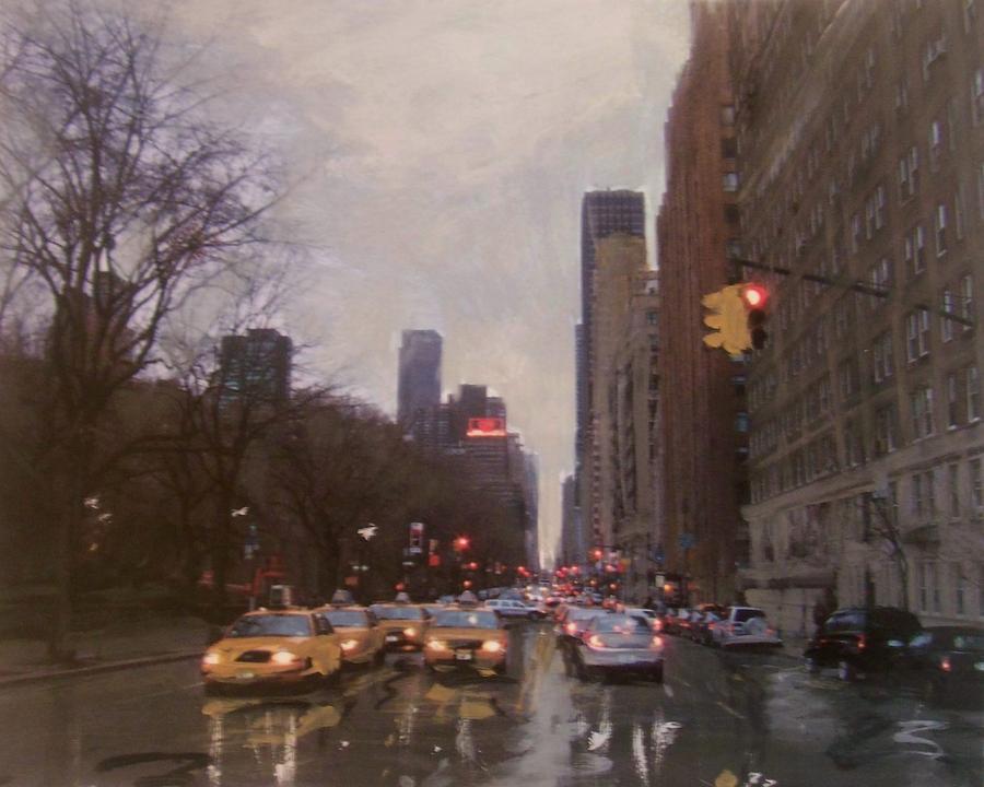 Rainy City Street Painting