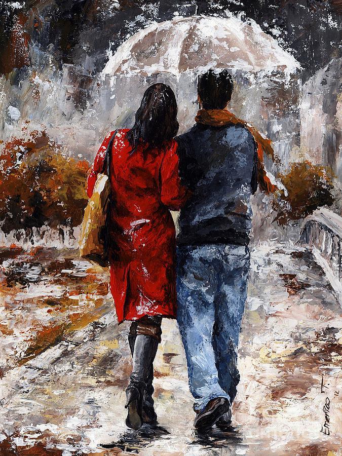 Rainy Day - Walking In The Rain Painting