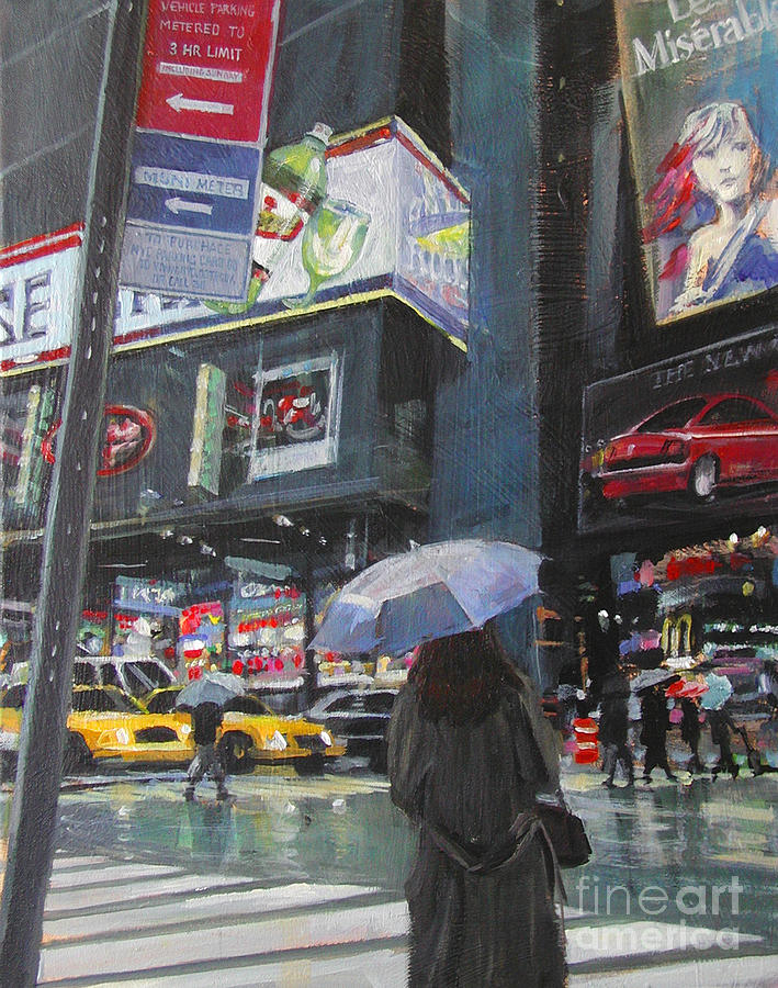 Rainy Day In Times Square Painting