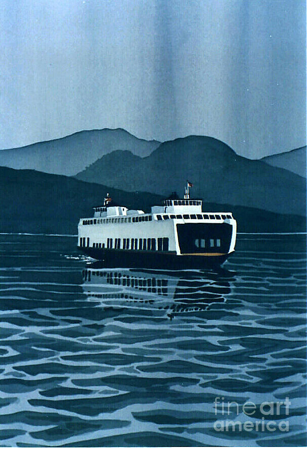 Rainy Ferry Painting