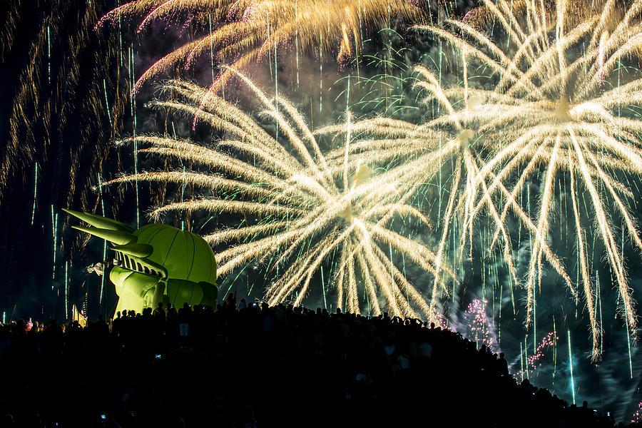 Rainy Fireworks Photograph