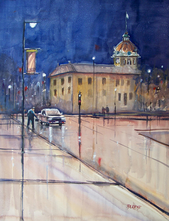 Rainy Night In Green Bay Painting