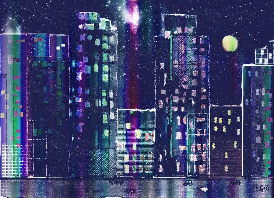 Rainy Night In The City Digital Art