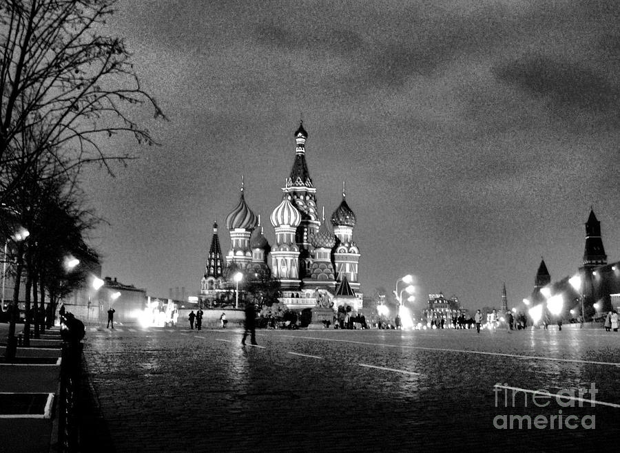 Rainy Red Square At Dusk Photograph  - Rainy Red Square At Dusk Fine Art Print