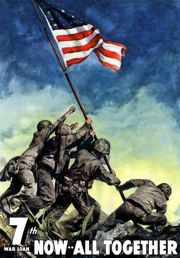 Raising The Flag On Iwo Jima Painting  - Raising The Flag On Iwo Jima Fine Art Print