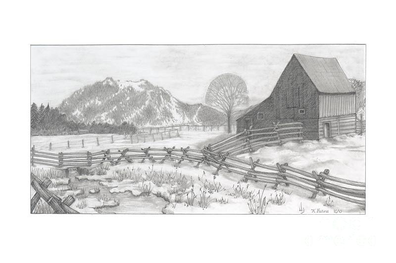 ranch in winter drawing by kathy burns