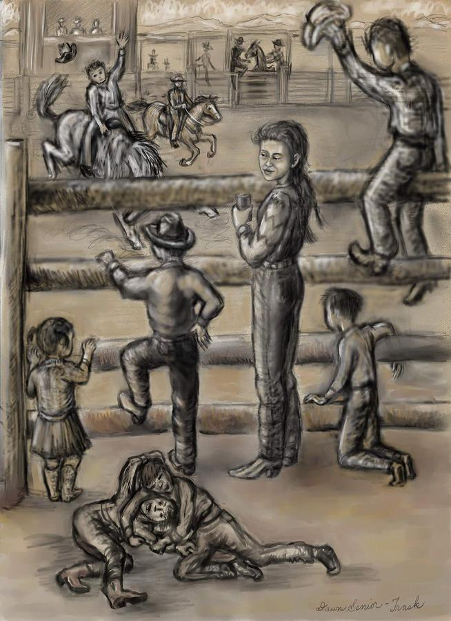 Ranch Kids At The Rodeo Drawing  - Ranch Kids At The Rodeo Fine Art Print