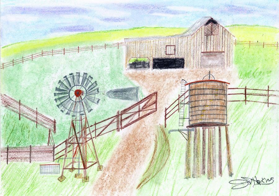 ranch windmill by john hoppy hopkins