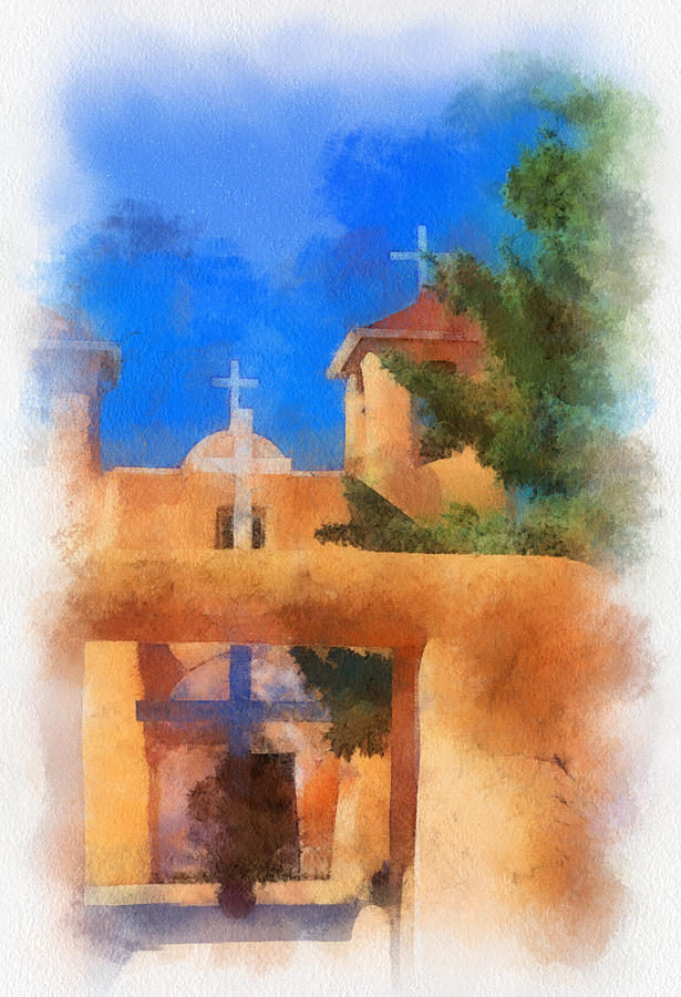 Ranchos Church Gate - Aquarell Digital Art