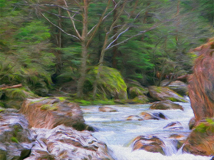 Rapids At The Rivers Bend Painting  - Rapids At The Rivers Bend Fine Art Print