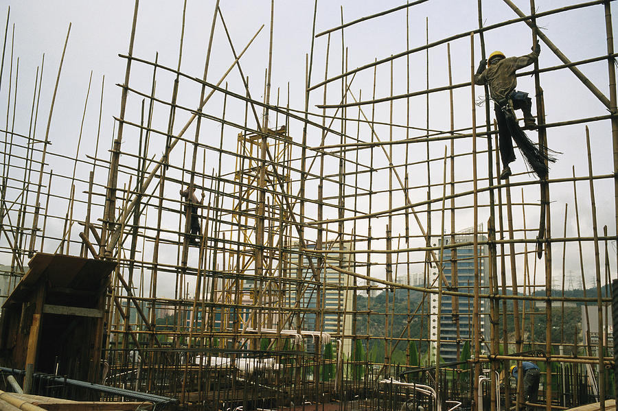 Rare Bamboo Scaffolding Used In Hong Photograph  - Rare Bamboo Scaffolding Used In Hong Fine Art Print