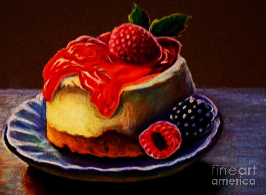 Raspberry Cheesecake  Drawing  - Raspberry Cheesecake  Fine Art Print