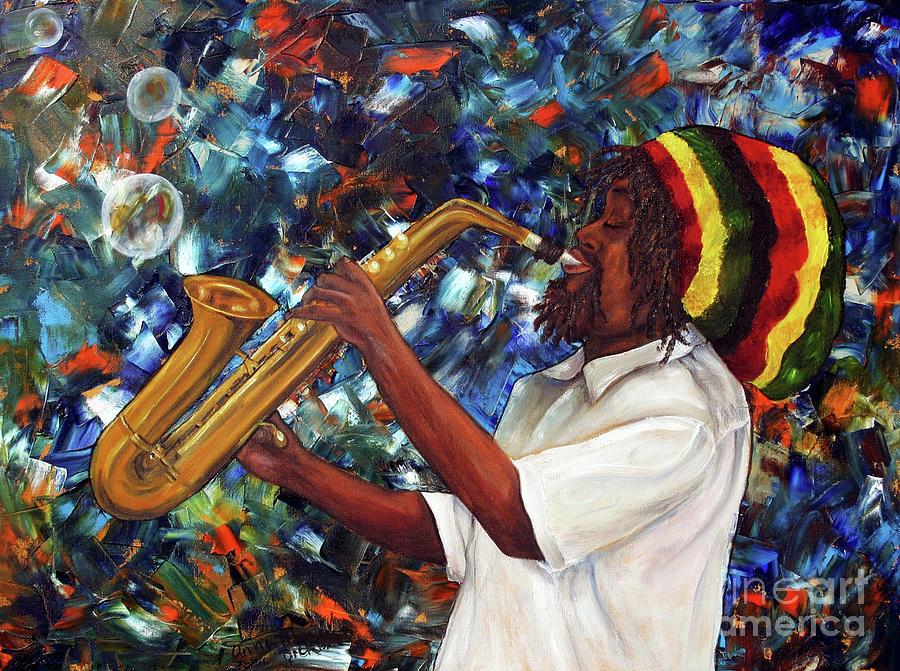 Rasta Sax Player Painting  - Rasta Sax Player Fine Art Print