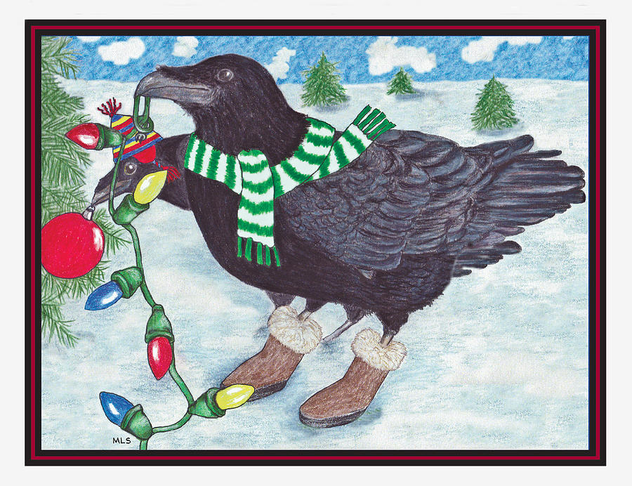 Birds Drawing - Ravens Holiday by Marla Saville