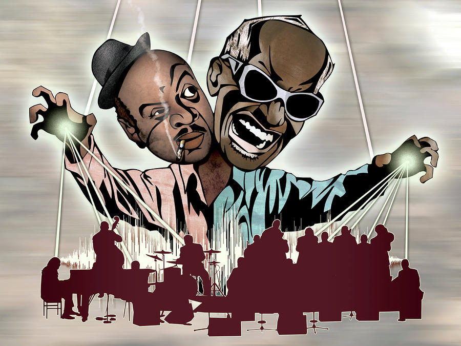 Ray Charles And Count Basie - Reanimated Drawing  - Ray Charles And Count Basie - Reanimated Fine Art Print