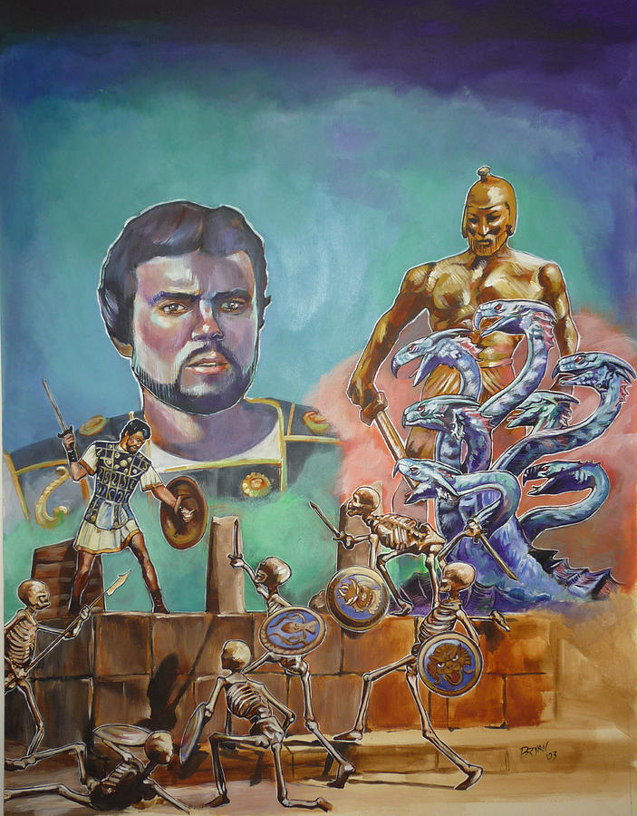 Ray Harryhausen Tribute Jason And The Argonauts Painting  - Ray Harryhausen Tribute Jason And The Argonauts Fine Art Print