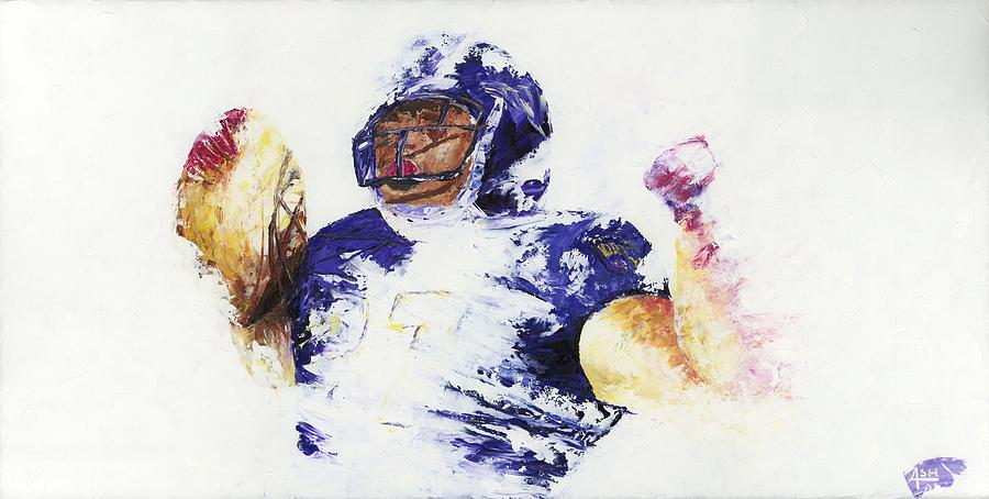 Oil Painting Art Artwork Acrylic Impressionist Impressionism Palette Knife Texture Giclee Print Reproduction Colorful Bright Athlete Athletic Sports Figures Human Ray Lewis Baltimore Ravens Football Afc National Football League Nfl Play Of The Day Highlight Running Back Leader  M&t Bank Stadium Team Rutgers College Spiritual Community Service Religious Foundation Rusher Color Colour Colourful Painting - Ray Rice by Ash Hussein