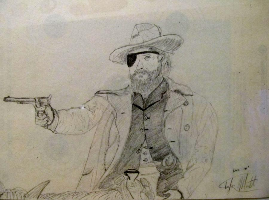 Cowboy Drawing - Reach For The Sky by Tyler Martin