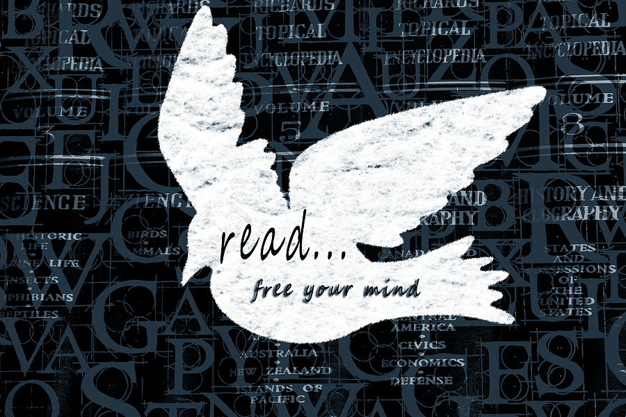 Read Free Your Mind Teal Mixed Media by Angelina Vick
