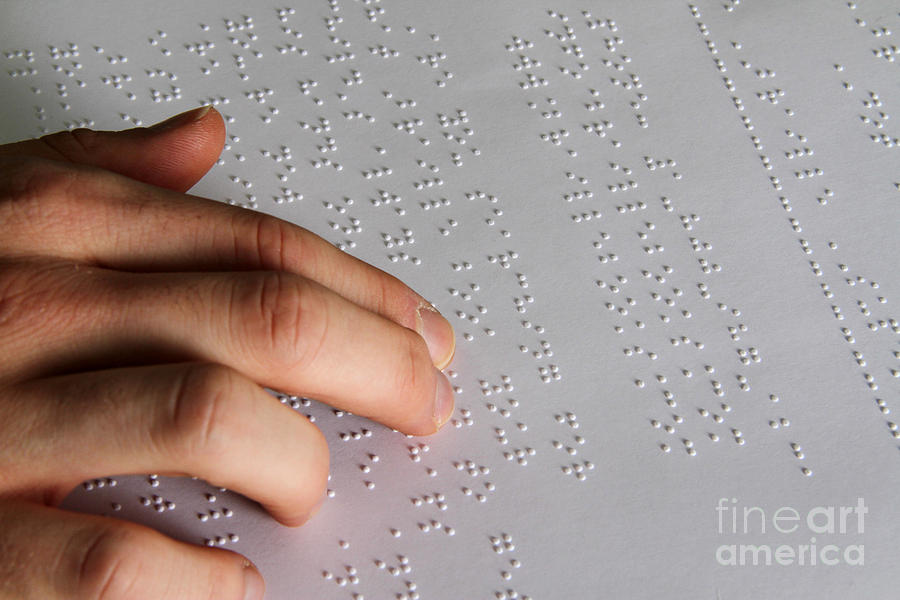 Reading Braille Photograph  - Reading Braille Fine Art Print