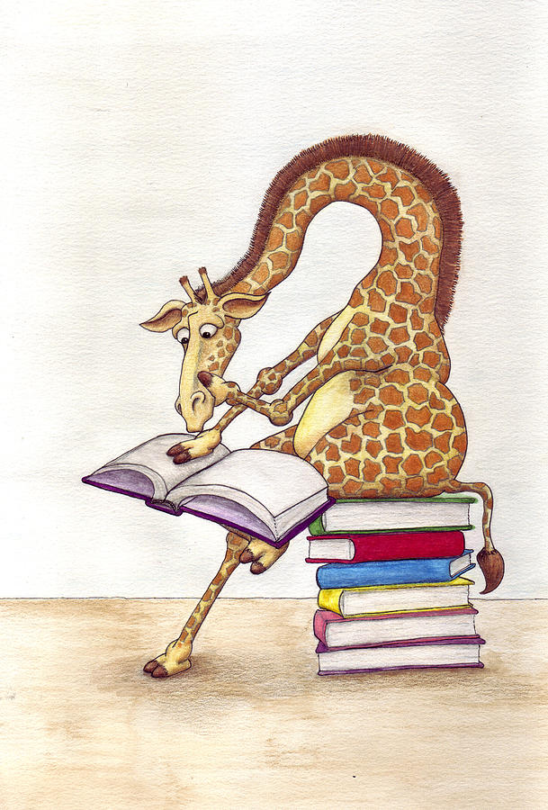 Reading Giraffe Mixed Media  - Reading Giraffe Fine Art Print
