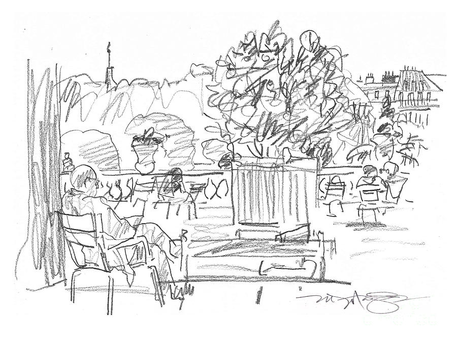 Reading In The Luxembourg Gardens Drawing  - Reading In The Luxembourg Gardens Fine Art Print