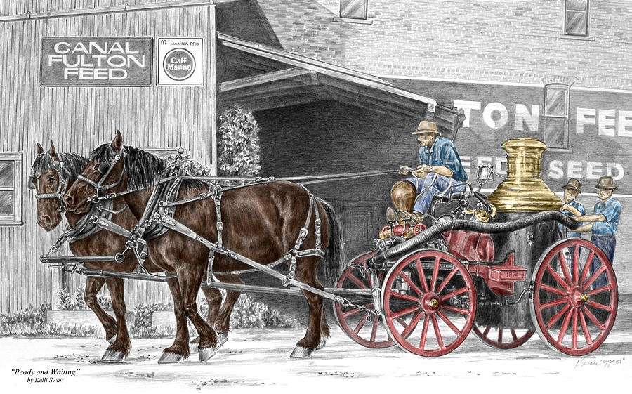 Ready And Waiting - Canal Fulton Ohio Fire Engine Print Drawing