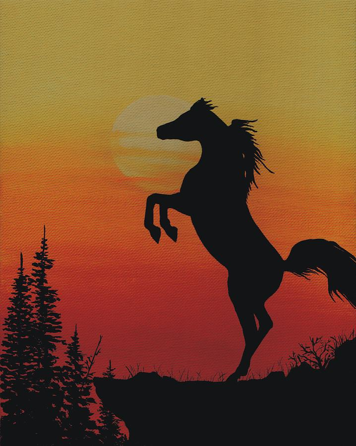 Rearing Stallion At Sunset Painting by Tod Locke