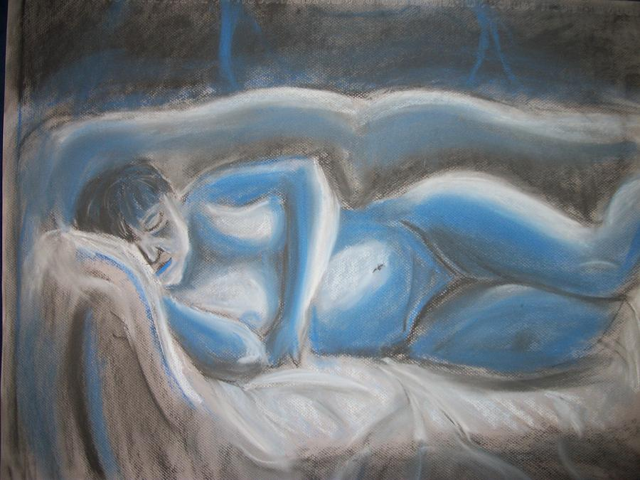Reclining Blue Drawing  - Reclining Blue Fine Art Print