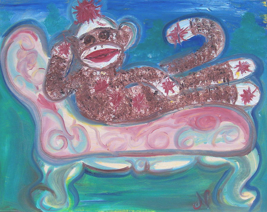 Reclining Sock Monkey Painting  - Reclining Sock Monkey Fine Art Print