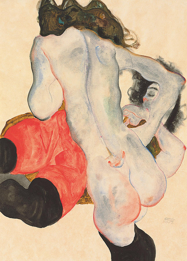 Reclining Woman In Red Trousers And Standing Female Nude Painting  - Reclining Woman In Red Trousers And Standing Female Nude Fine Art Print
