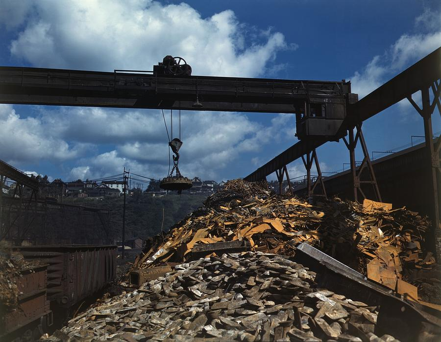 Recycling Scrap Steel During World War Photograph  - Recycling Scrap Steel During World War Fine Art Print
