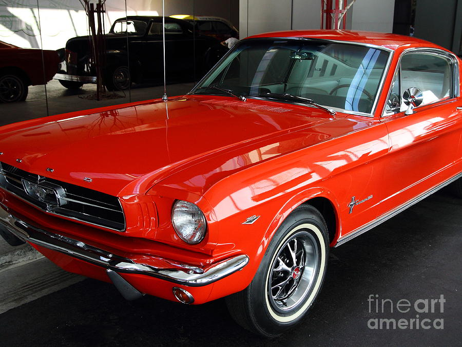 Red 1965 Ford Mustang . Front Angle Photograph