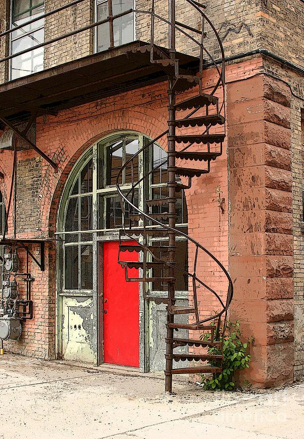 Red Alley Door Photograph