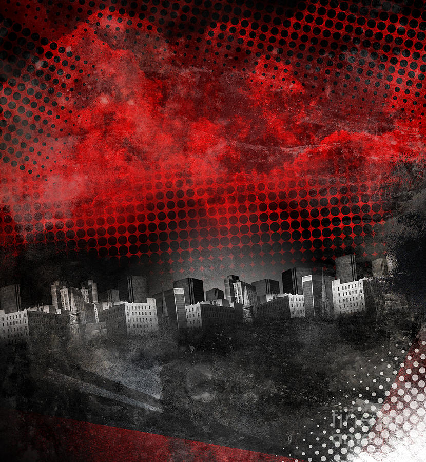 Red And Black City Grunge Background Photograph by Angela Waye