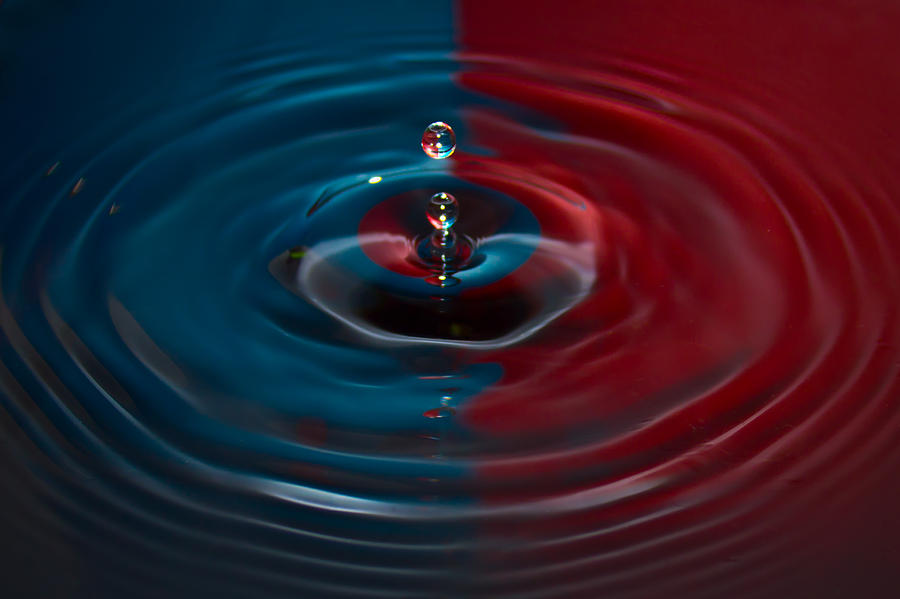 Red And Blue Water Drop No.13 Photograph  - Red And Blue Water Drop No.13 Fine Art Print