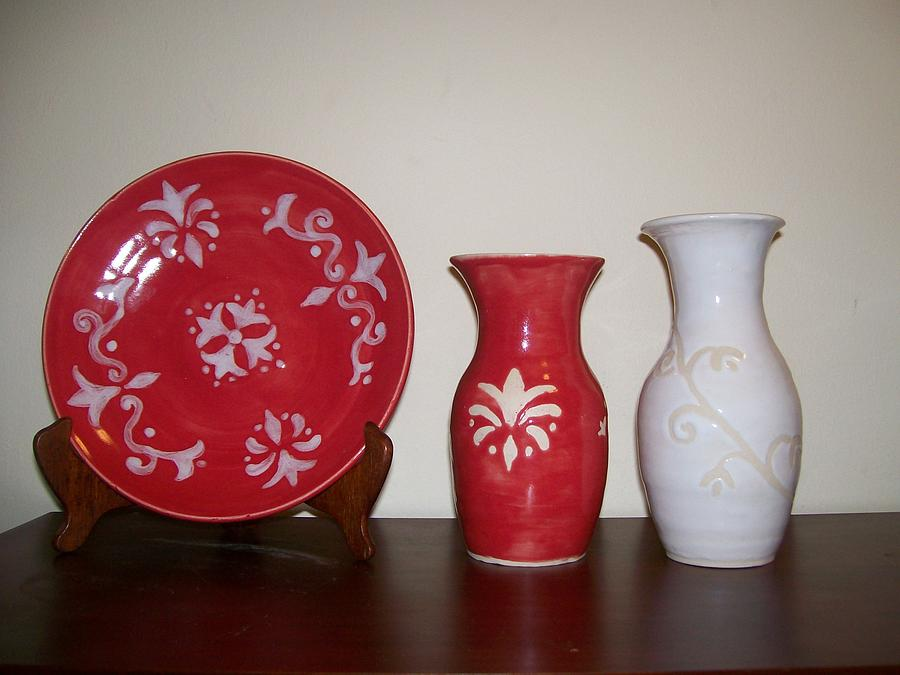 Red Ceramic Art - Red And White by Monika Hood