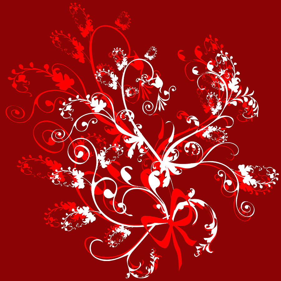Red And White Ornaments Digital Art