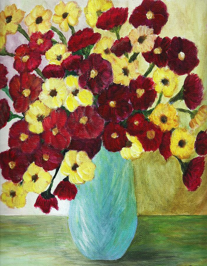 Red And Yellow Bouquet Of Flowers  Painting - Red And Yellow Bouquet In Blue by Christy Saunders Church