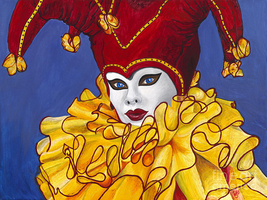 Red And Yellow Carnival Jester Painting  - Red And Yellow Carnival Jester Fine Art Print