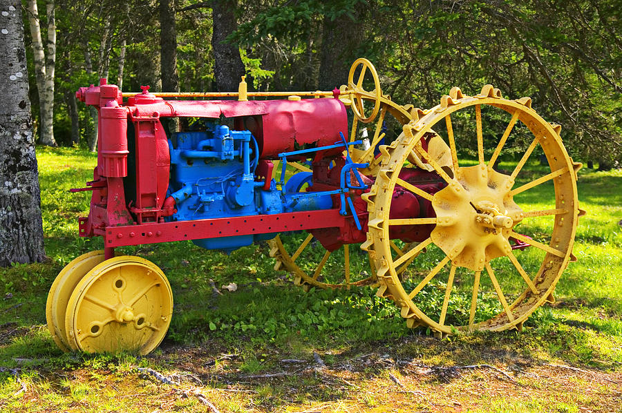Red And Yellow Tractor Photograph  - Red And Yellow Tractor Fine Art Print