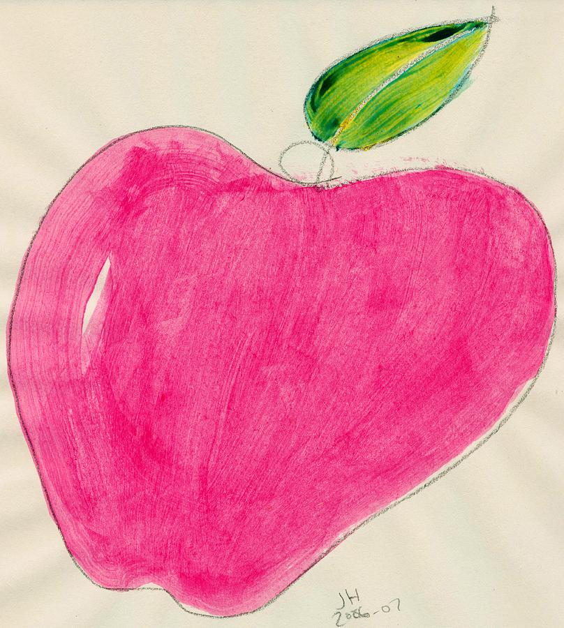 Red Apple Single Line Drawing Two Drawing  - Red Apple Single Line Drawing Two Fine Art Print