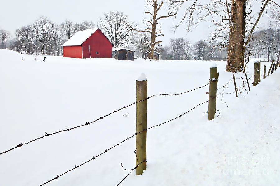 Red Barn And Fresh Snow - D006392a Photograph  - Red Barn And Fresh Snow - D006392a Fine Art Print
