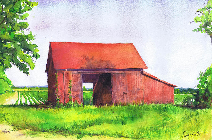 Red Barn Cutchogue Ny Painting  - Red Barn Cutchogue Ny Fine Art Print