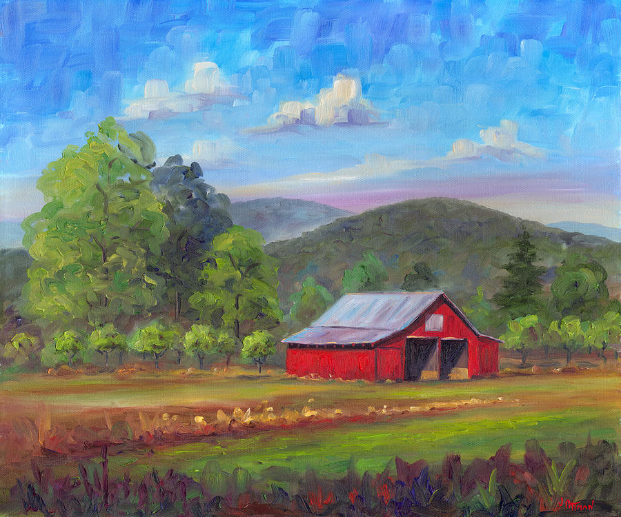 Red Barn In Fruitland Painting  - Red Barn In Fruitland Fine Art Print