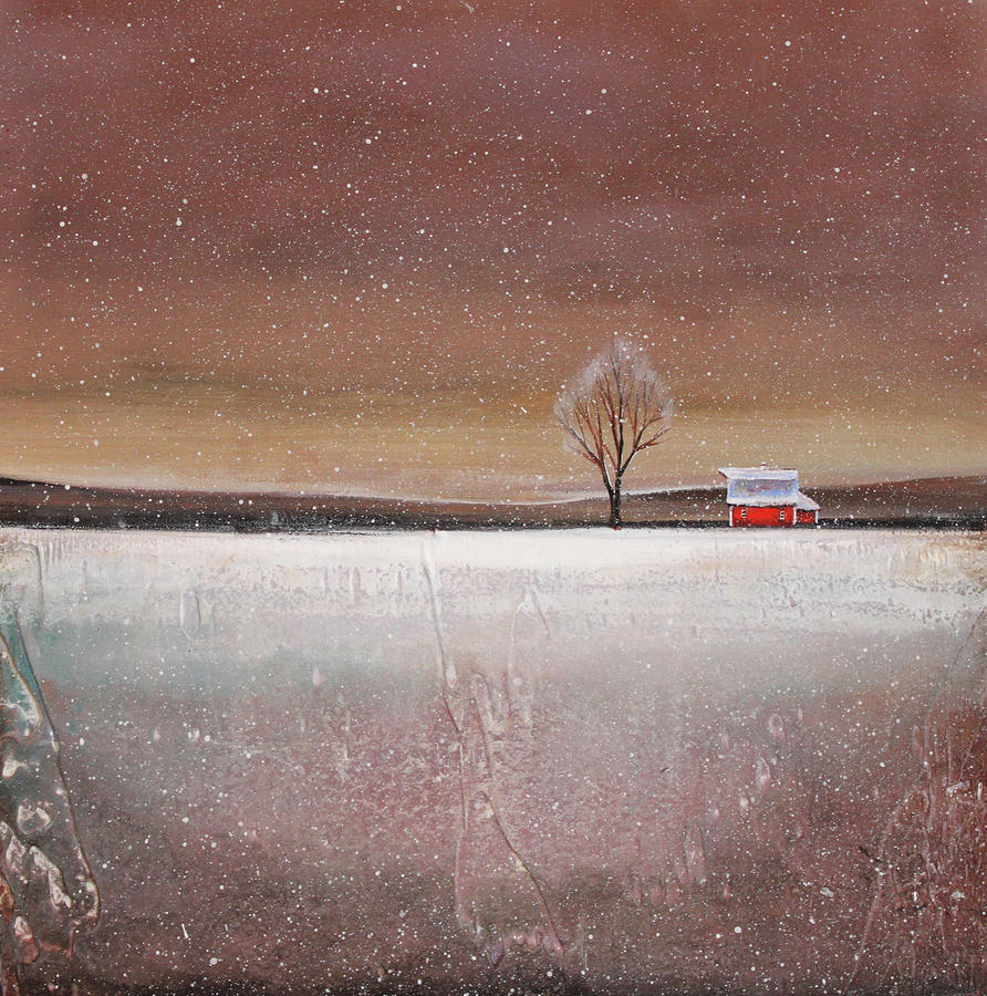 Red Barn In Snow Painting  - Red Barn In Snow Fine Art Print